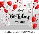red white balloons  confetti... | Shutterstock .eps vector #793624525