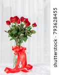 red rose with red ribbon with... | Shutterstock . vector #793628455