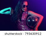 sexy disco party woman.... | Shutterstock . vector #793630912