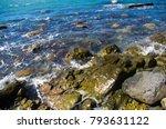 Rocky Sea Shore With Pebble...