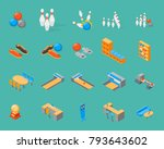 bowling game icons set... | Shutterstock .eps vector #793643602