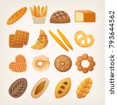 set of buns and breads for... | Shutterstock .eps vector #793644562