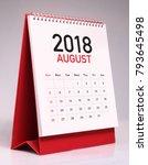 simple desk calendar for august ... | Shutterstock . vector #793645498