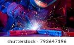 welder erecting technical steel.... | Shutterstock . vector #793647196