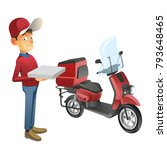 pizza delivery set with scooter ... | Shutterstock .eps vector #793648465