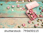 Gift Box With Pink Dried Rose...