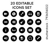 audio icons. set of 20 editable ... | Shutterstock .eps vector #793656022