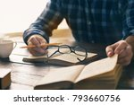 student is studying at home.... | Shutterstock . vector #793660756