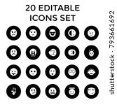 expression icons. set of 20... | Shutterstock .eps vector #793661692