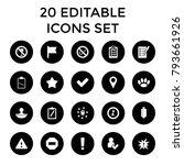 mark icons. set of 20 editable... | Shutterstock .eps vector #793661926