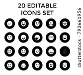 emoticon icons. set of 20... | Shutterstock .eps vector #793661956