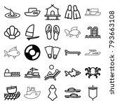 sea icons. set of 25 editable... | Shutterstock .eps vector #793663108