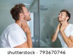 man putting after shave perfume ... | Shutterstock . vector #793670746