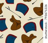 seamless pattern equestrian... | Shutterstock .eps vector #793671226