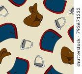seamless pattern equestrian... | Shutterstock .eps vector #793671232