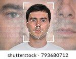 man face recognition  ...   Shutterstock . vector #793680712