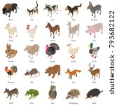 animals collection icons set.... | Shutterstock .eps vector #793682122