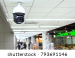 cctv camera hanging on the roof | Shutterstock . vector #793691146