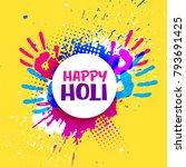 happy holi celebration poster... | Shutterstock .eps vector #793691425