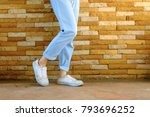 old white shoes. woman wear... | Shutterstock . vector #793696252