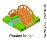 wooden bridge icon. isometric... | Shutterstock .eps vector #793698385