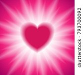 pink heart and white glowing... | Shutterstock .eps vector #793700092