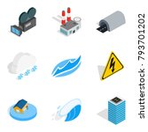 Power the device icons set. Isometric set of 9 power the device vector icons for web isolated on white background