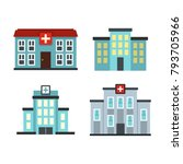 hospital icon set. flat set of... | Shutterstock .eps vector #793705966