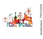 music poster with music... | Shutterstock .eps vector #793712932