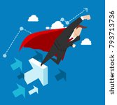 super businessman flying into... | Shutterstock .eps vector #793713736