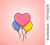 happy valentines balloons.... | Shutterstock .eps vector #793720678