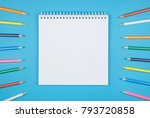 multicolored set of pencils and ... | Shutterstock . vector #793720858