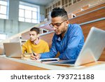 portrait of two students... | Shutterstock . vector #793721188