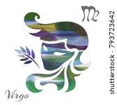 zodiac sign virgo. vector... | Shutterstock .eps vector #793723642