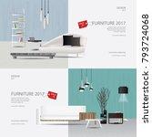 2 banner furniture sale design... | Shutterstock .eps vector #793724068