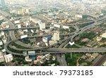 Panorama of Bangkok expressway from Baiyoke Sky Hotel. Thailand - stock photo