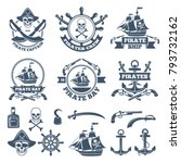 vintage nautical and pirates... | Shutterstock .eps vector #793732162