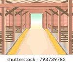 illustration of inside a barn... | Shutterstock .eps vector #793739782