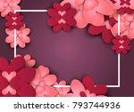 flowers paper spring banner cut ... | Shutterstock .eps vector #793744936