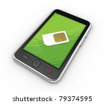 Black smartphones with SIM Card. This is detailed 3d render. - stock photo