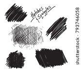 hand drawn blobs with hatchwork ...   Shutterstock .eps vector #793746058