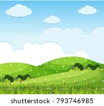 nature scene with flowers on... | Shutterstock .eps vector #793746985