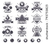 logos set for billiard club.... | Shutterstock .eps vector #793753825