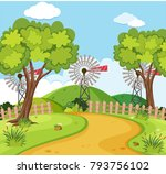 nature scene with wind turbines ... | Shutterstock .eps vector #793756102