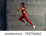 side view fit woman doing...   Shutterstock . vector #793756462
