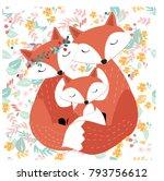vintage seamless cute fox wolf... | Shutterstock .eps vector #793756612