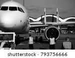 airplanes waiting at the