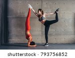 two young fit women posing in... | Shutterstock . vector #793756852