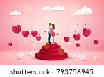 red heart flower on pink... | Shutterstock .eps vector #793756945