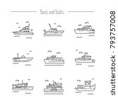 set of contour icons of ships ... | Shutterstock .eps vector #793757008